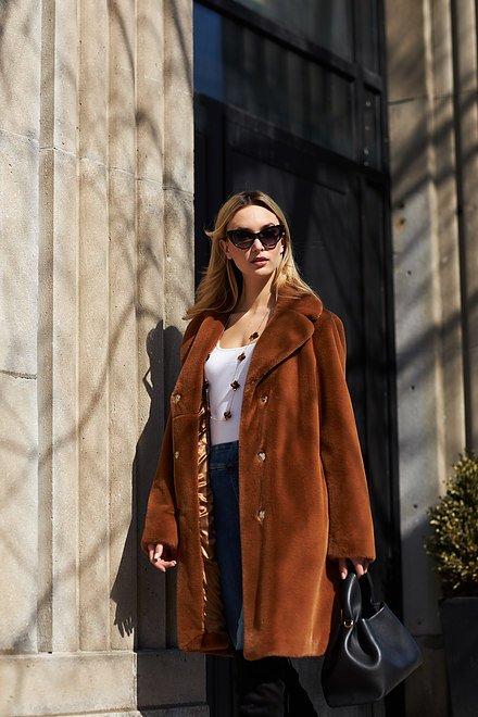 Joseph Ribkoff Faux Fur Coat Style 213910