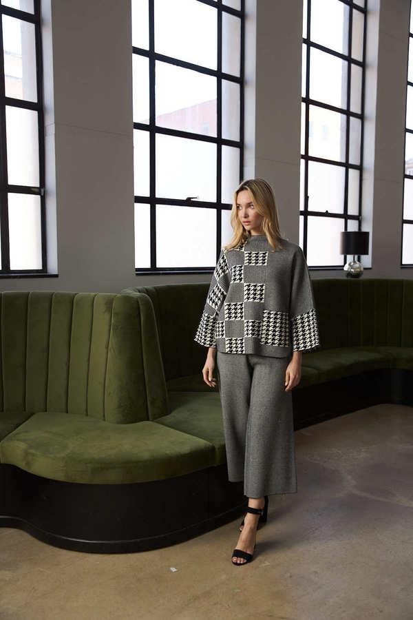 Joseph Ribkoff Houndstooth Sweater Style 213912. Black/Vanilla