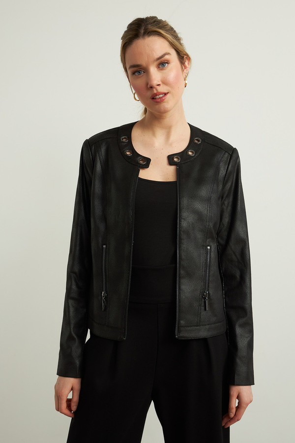 Joseph Ribkoff Faux Leather Jacket Style 213922. Black