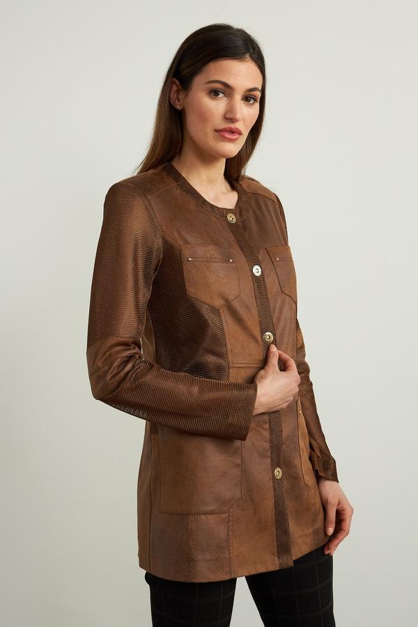 Joseph Ribkoff Mesh Suede Jacket Style 213946. Cognac
