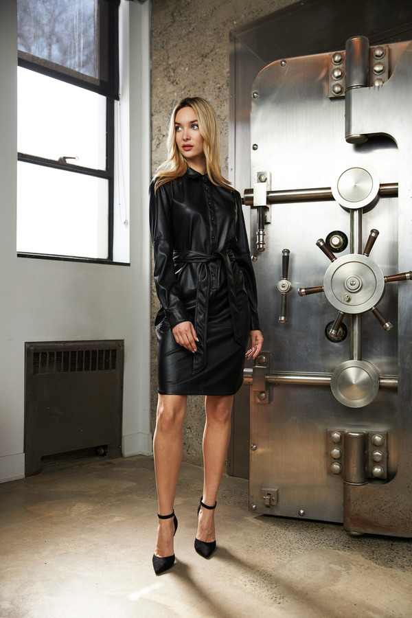 Joseph Ribkoff Faux Leather Shirt Dress Style 213953. Black