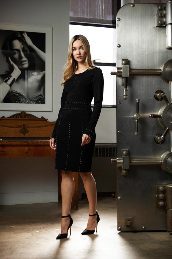 Joseph Ribkoff Long Sleeve Dress Style 213974. Black