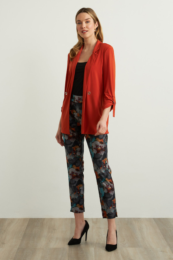 Joseph Ribkoff Floral Motif Jeans Style 213997. Charcoal/multi
