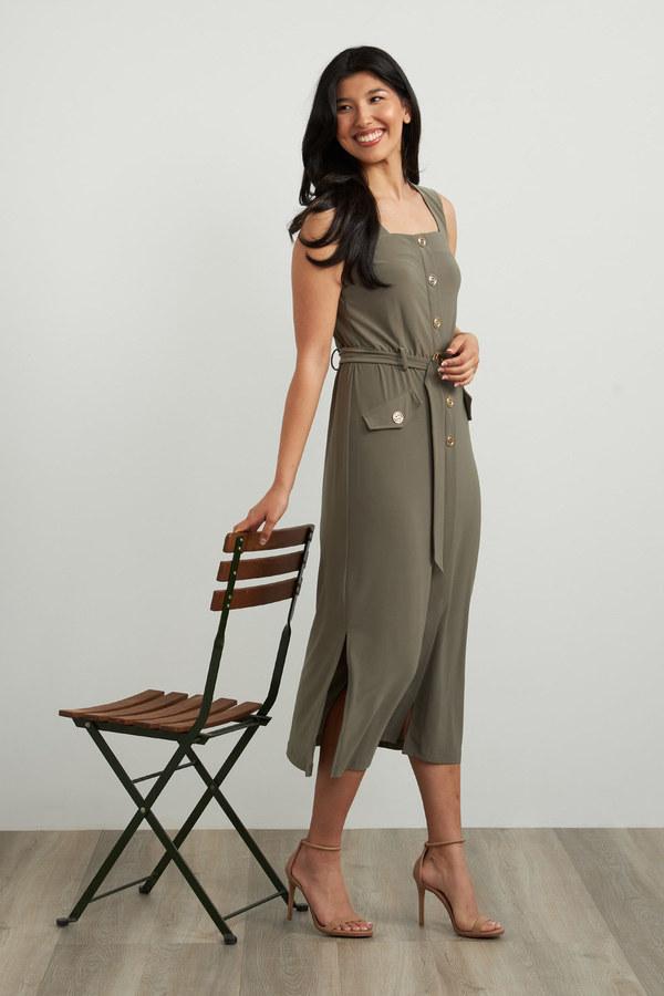 Joseph Ribkoff Metallic Accent Dress Style 212155. Eucalyptus
