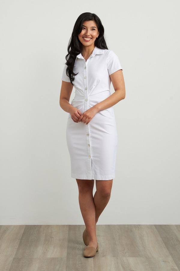 Joseph Ribkoff Short Sleeve Shirt Dress Style 212118. White