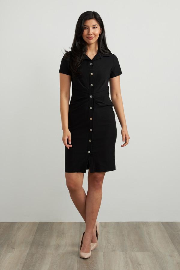Joseph Ribkoff Short Sleeve Shirt Dress Style 212118. Black