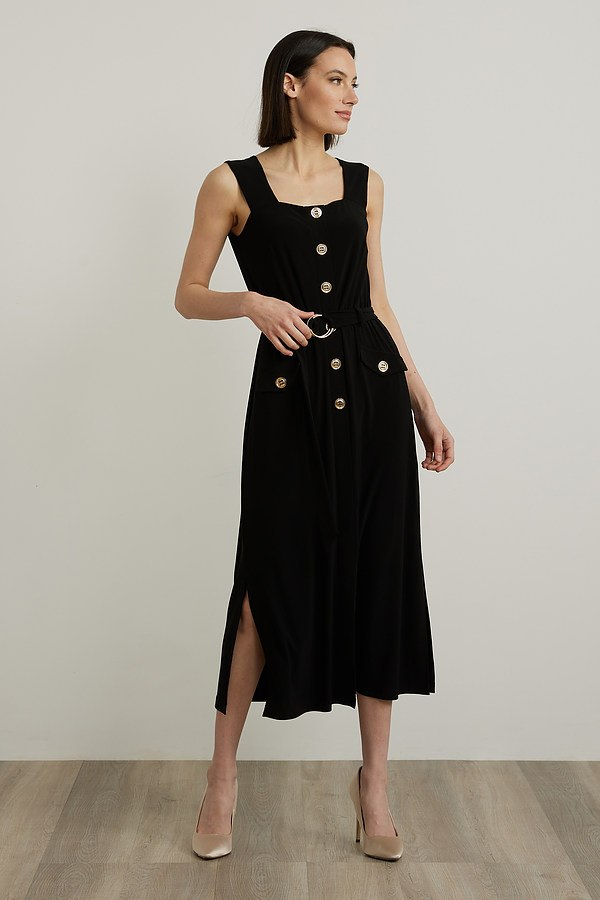 Joseph Ribkoff Metallic Accent Dress Style 212155. Black