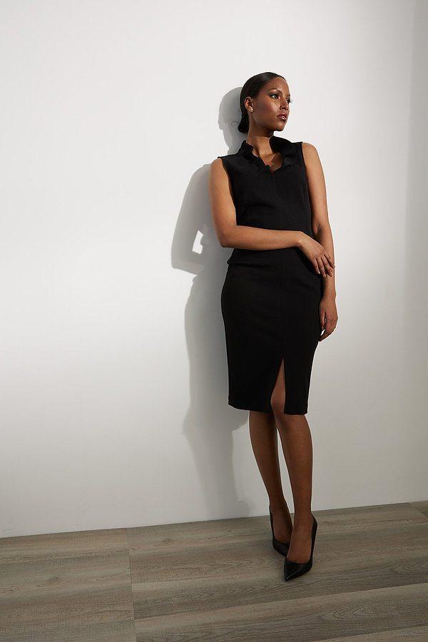Joseph Ribkoff Sleeveless Crepe Dress Style 213365. Black