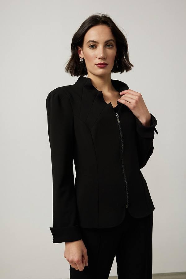 Joseph Ribkoff Ruffled Collar Jacket Style 214046. Black