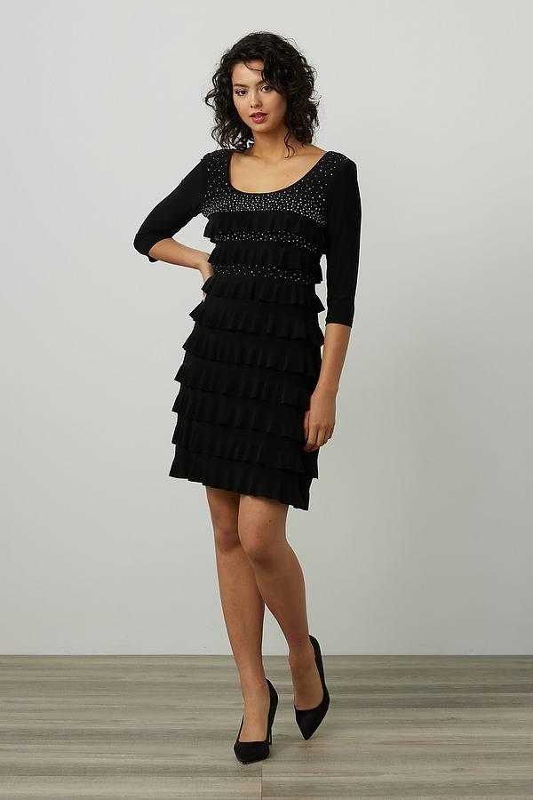 Joseph Ribkoff Embellished Dress Style 214071. Black
