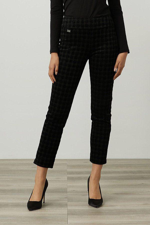 Joseph Ribkoff Houndstooth Pull-On Pants Style 214097. Black
