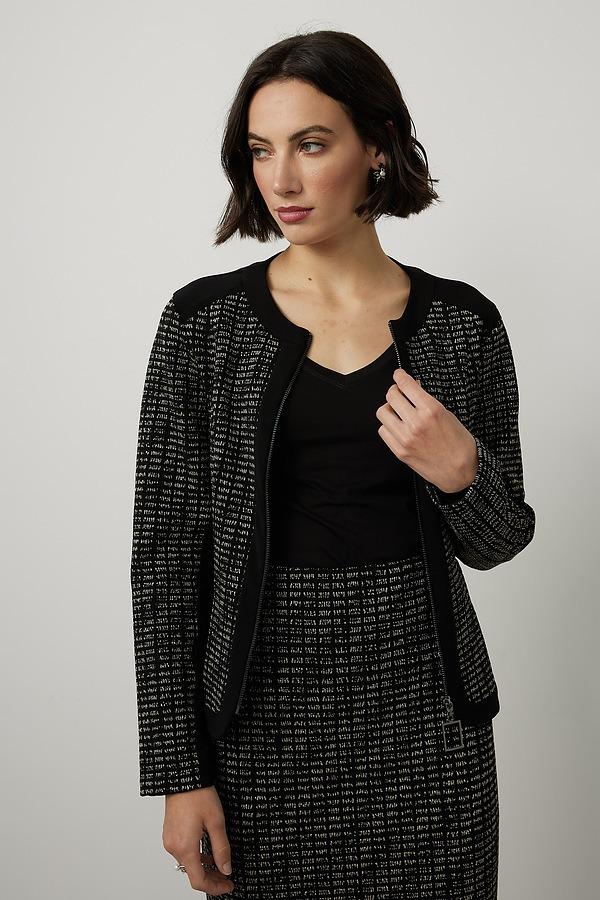 Joseph Ribkoff Zip Up Blazer Style 214099. Black/Silver