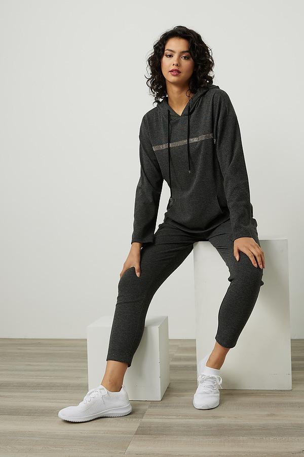 Joseph Ribkoff Dolman Sleeve Hoodie Style 214100. Charcoal/Black