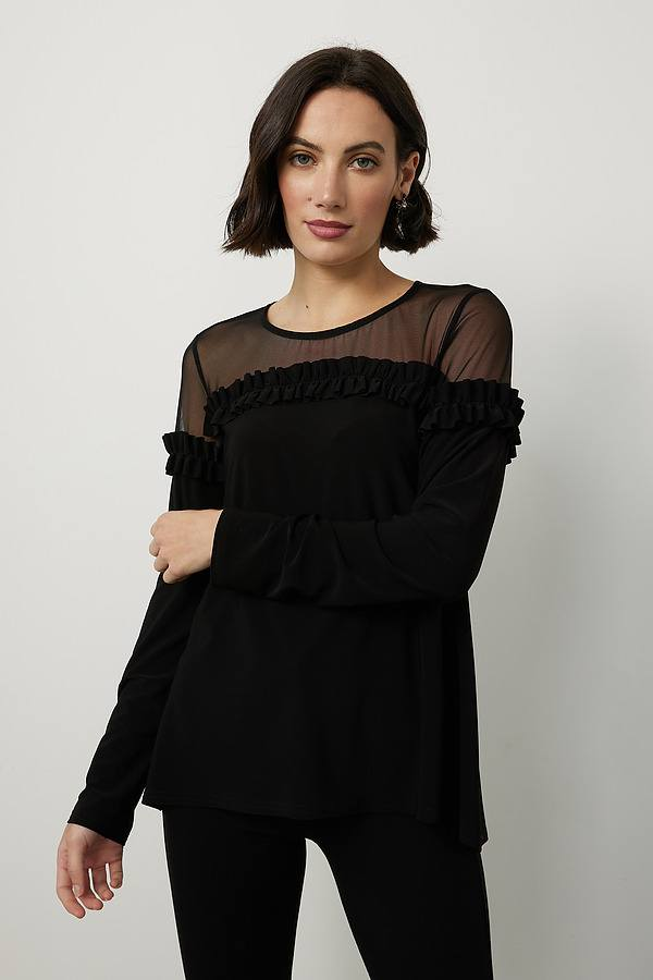 Joseph Ribkoff Sheer Neckline Top Style 214103. Black