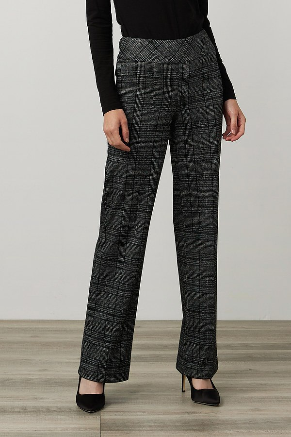 Joseph Ribkoff Plaid Print Pants Style 214107. Black/Multi