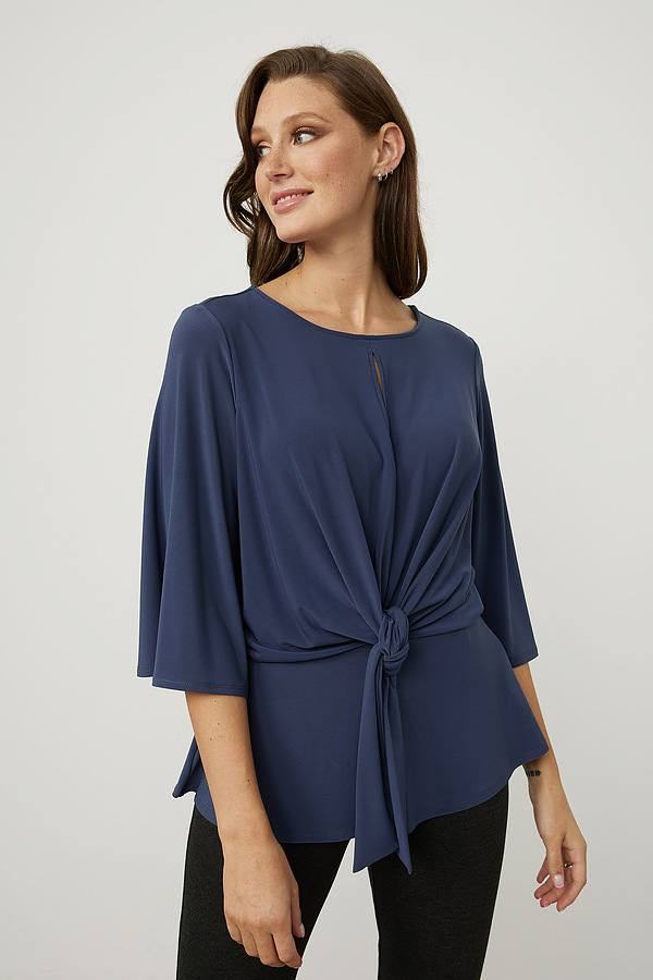 Joseph Ribkoff Belted Top Style 214114. Mineral blue
