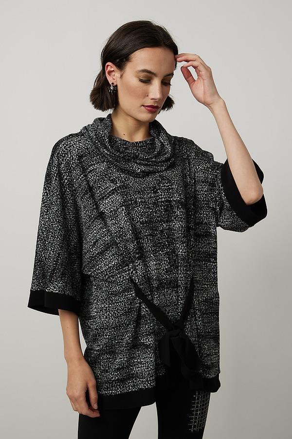 Joseph Ribkoff Jacquard Knit Top Style 214118. Black/silver/grey