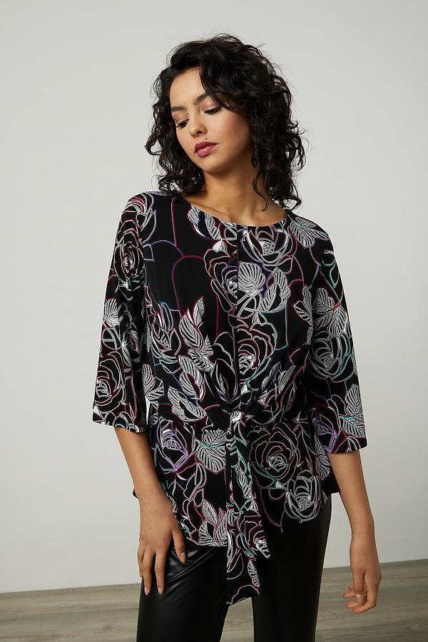 Joseph Ribkoff Floral Print Top Style 214122. Black/Multi