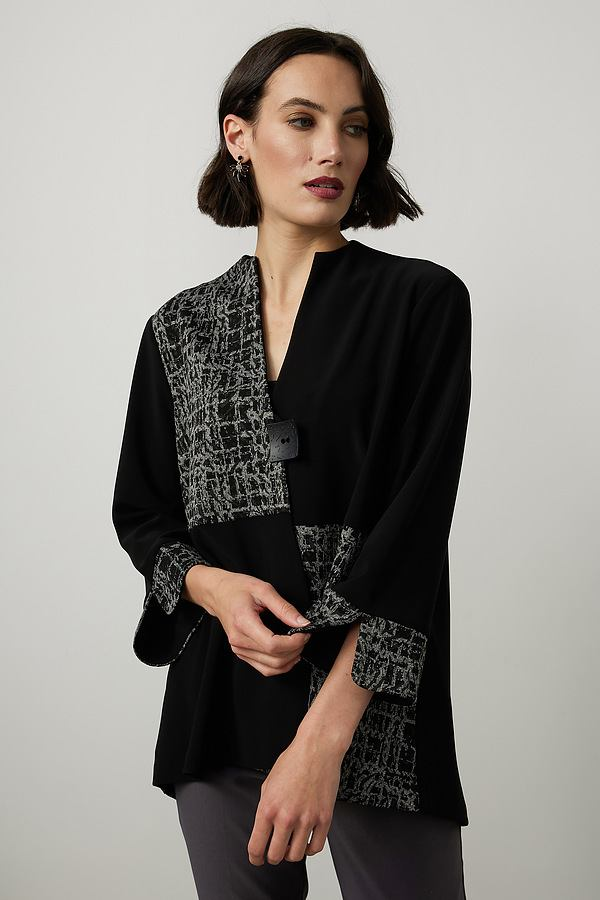 Joseph Ribkoff Abstract Print Blazer Style 214141. Black/Grey