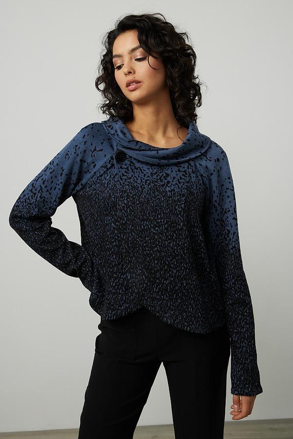 Joseph Ribkoff Wrap Front Blazer Style 214142. Black/mineral blue