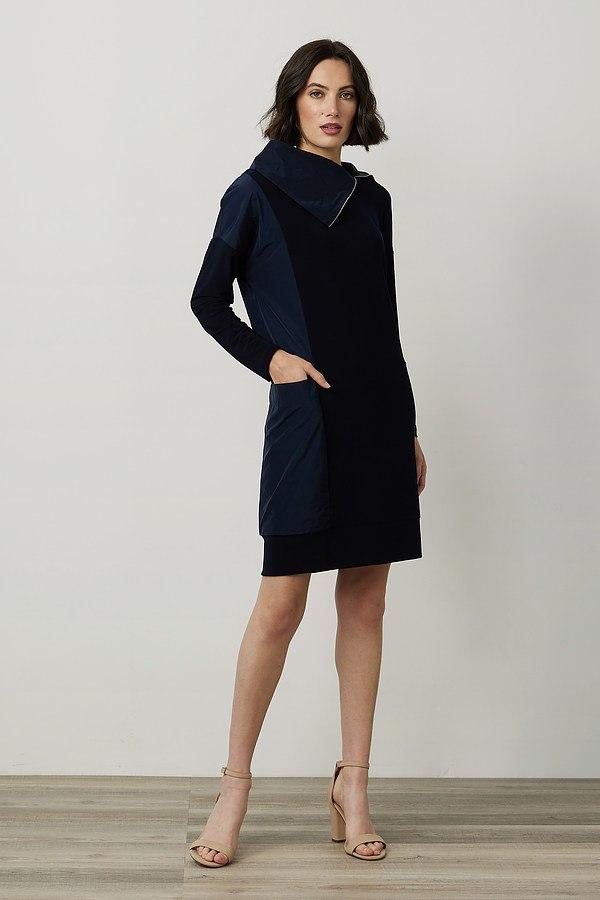 Joseph Ribkoff Mixed Panel Dress Style 214155. Midnight Blue 40