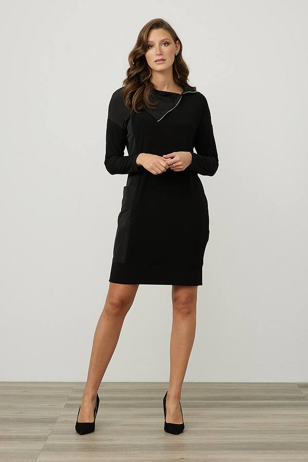 Joseph Ribkoff Mixed Panel Dress Style 214155. Black
