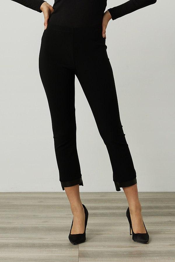 Joseph Ribkoff Faux Leather Trim Pants Style 214158. Black