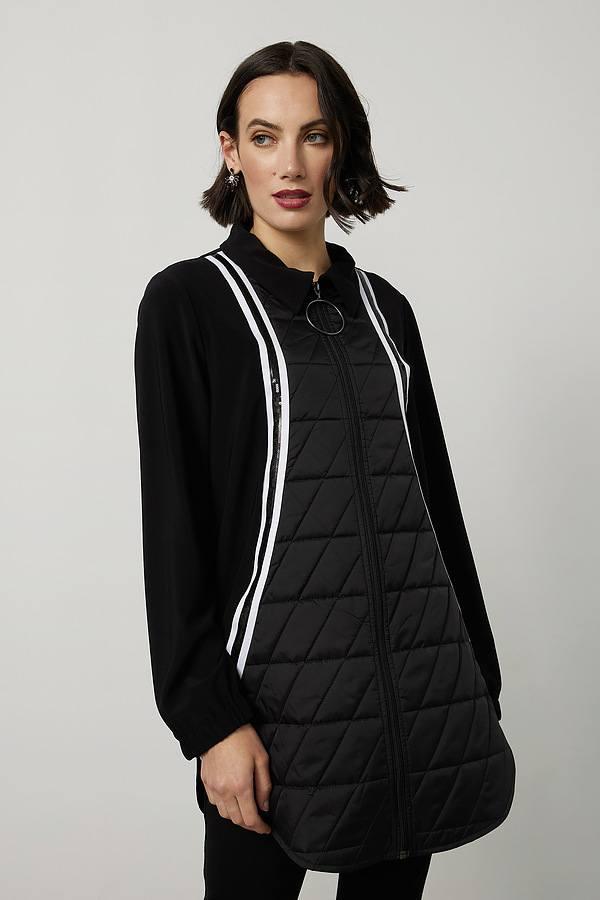 Joseph Ribkoff Long Jacket Style 214161. Black/White