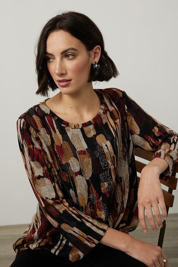 Joseph Ribkoff Abstract Print Knit Top Style 214164. Black/Multi
