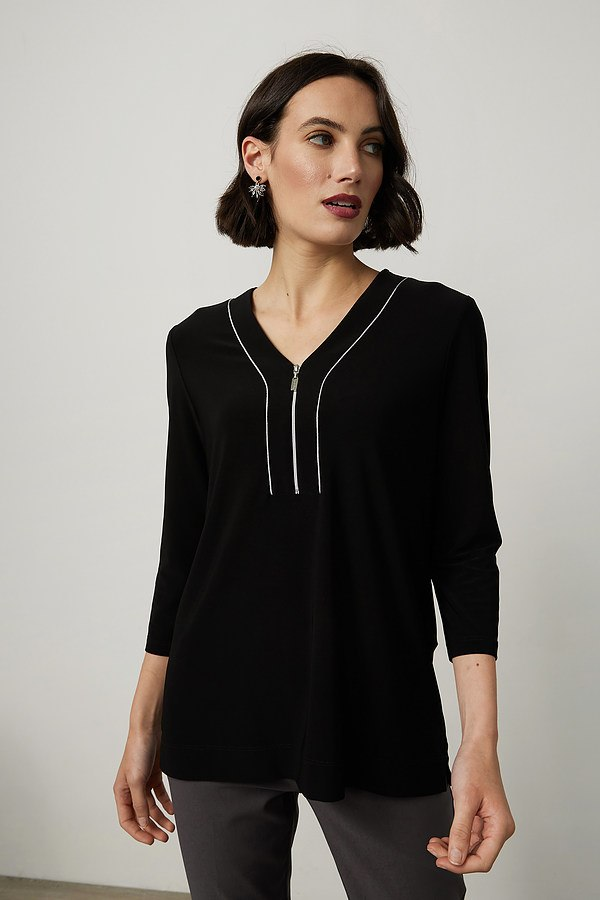 Joseph Ribkoff Piped Detail Top Style 214168. Black