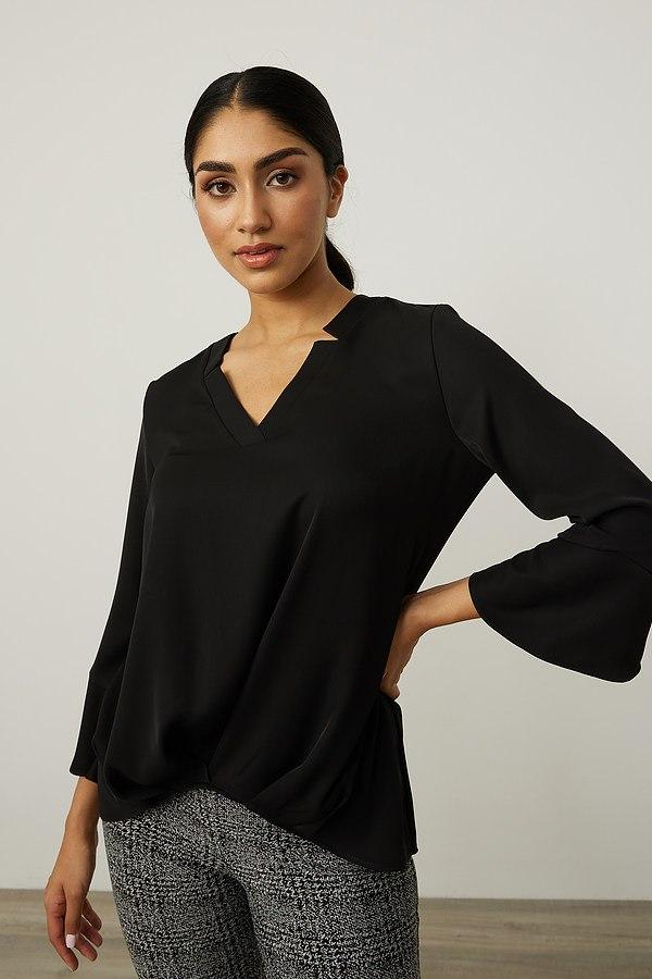Joseph Ribkoff Ruffled Sleeves V-Neck Top Style 214181. Black