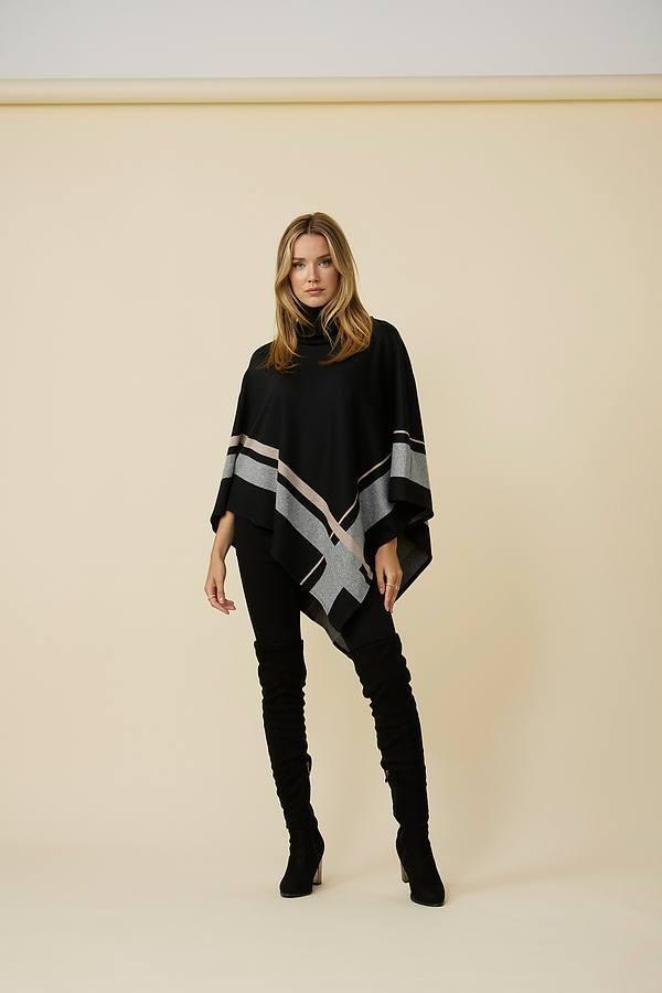 Joseph Ribkoff Knit Poncho Style 214184. Black/grey/beige