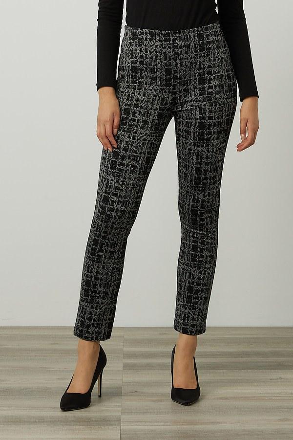 Joseph Ribkoff Jacquard Pull-On Pants Style 214185. Black/Grey