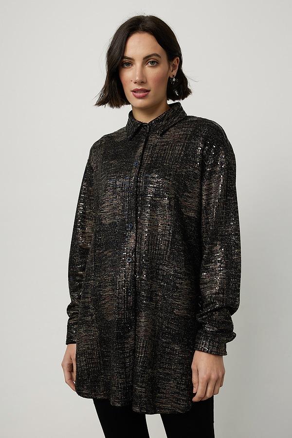 Joseph Ribkoff Shimmery Blouse Style 214186. Black/Multi