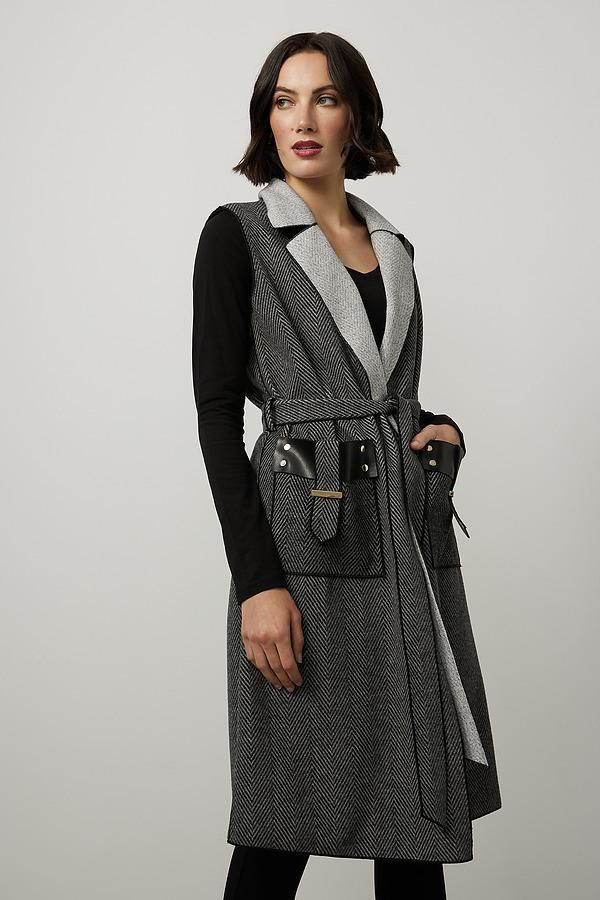 Joseph Ribkoff Knit Sleeveless Jacket Style 214195. Black/Grey