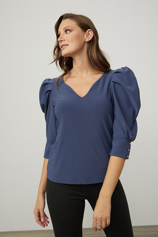 Joseph Ribkoff Puff Shoulders Top Style 214199. Mineral blue