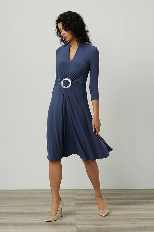 Joseph Ribkoff Gathered Front Dress Style 214211. Mineral blue