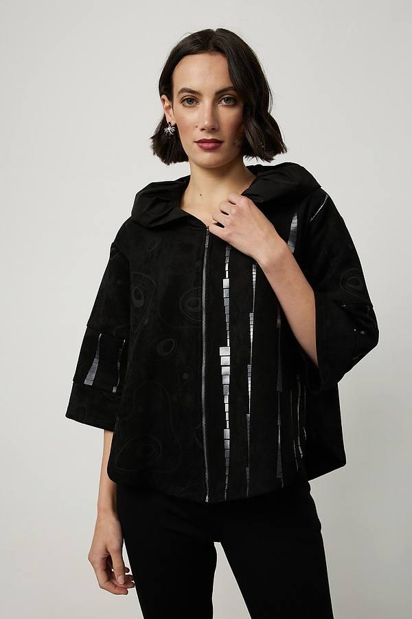 Joseph Ribkoff Printed Ruffle Collar Jacket Style 214213. Black/Silver