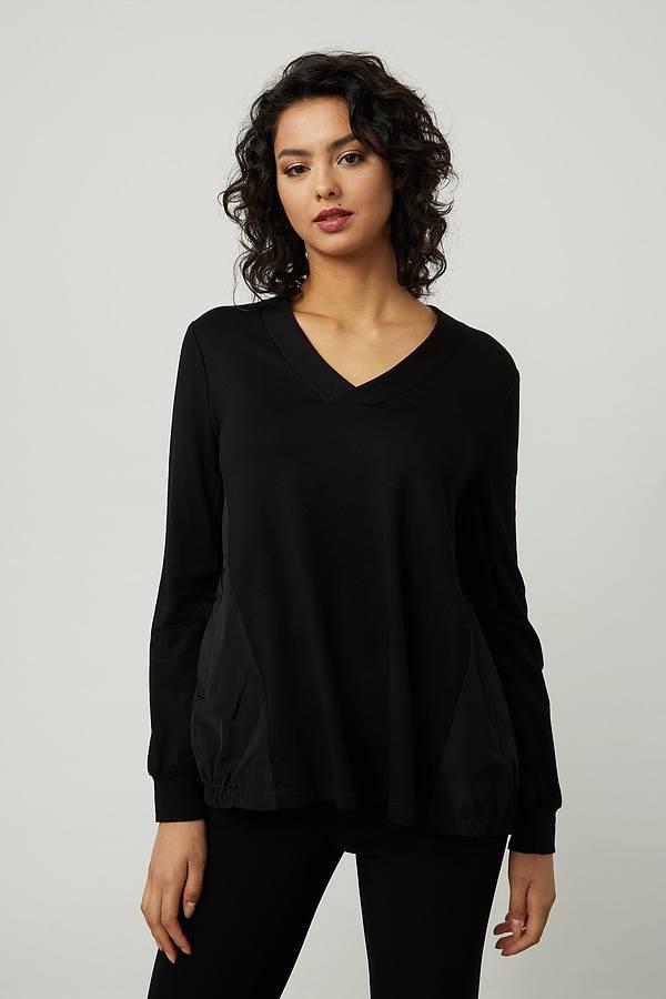 Joseph Ribkoff V-Neck Top Style 214218. Black