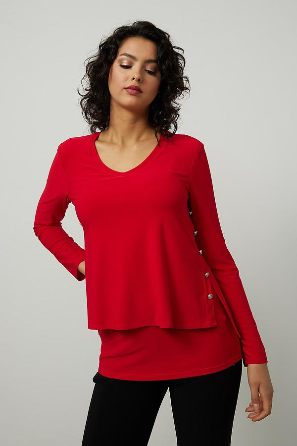 Joseph Ribkoff Embellished Side Top Style 214224. Lipstick Red 173