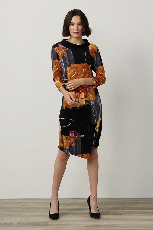 Joseph Ribkoff Abstract Asymmetric Dress Style 214226. Black/Multi