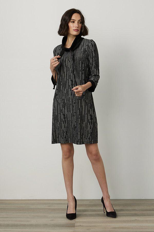 Joseph Ribkoff Striped Knit Dress Style 214236. Black/Grey