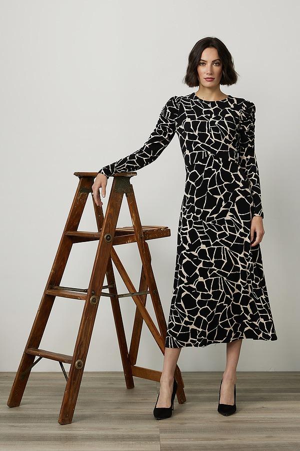 Joseph Ribkoff Abstract Print Maxi Dress Style 214237. Black/Beige