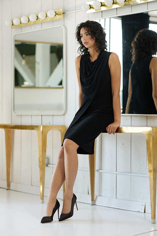 Joseph Ribkoff Cowl Neck Sleeveless Dress Style 214238. Black