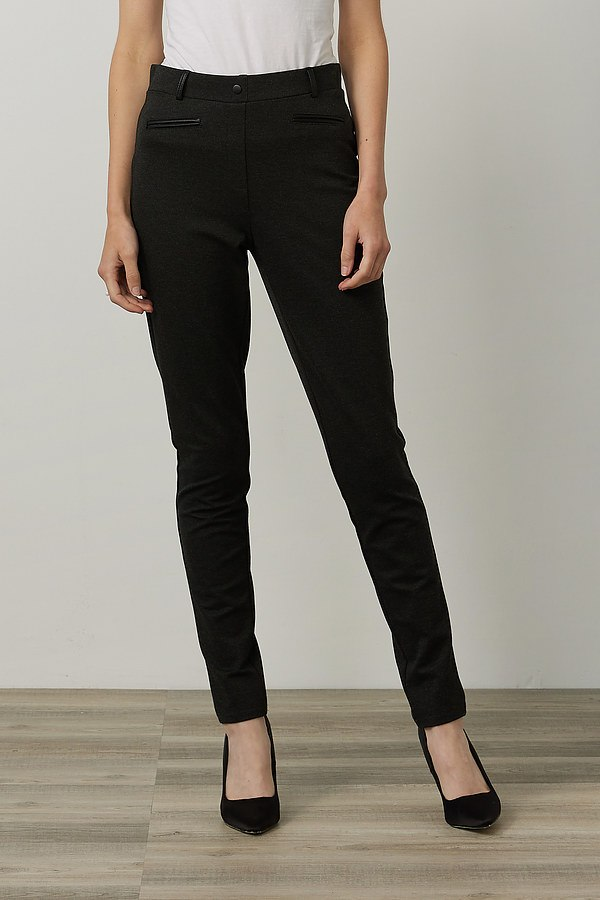 Joseph Ribkoff Faux Leather Detail Pants Style 214249. Black/Black