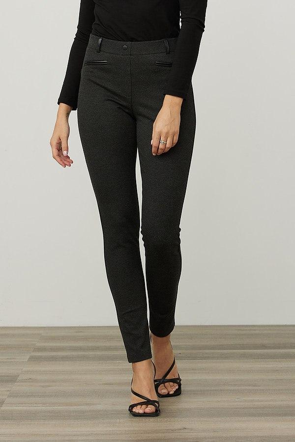 Joseph Ribkoff Faux Leather Detail Pants Style 214249. Charcoal Grey/Black