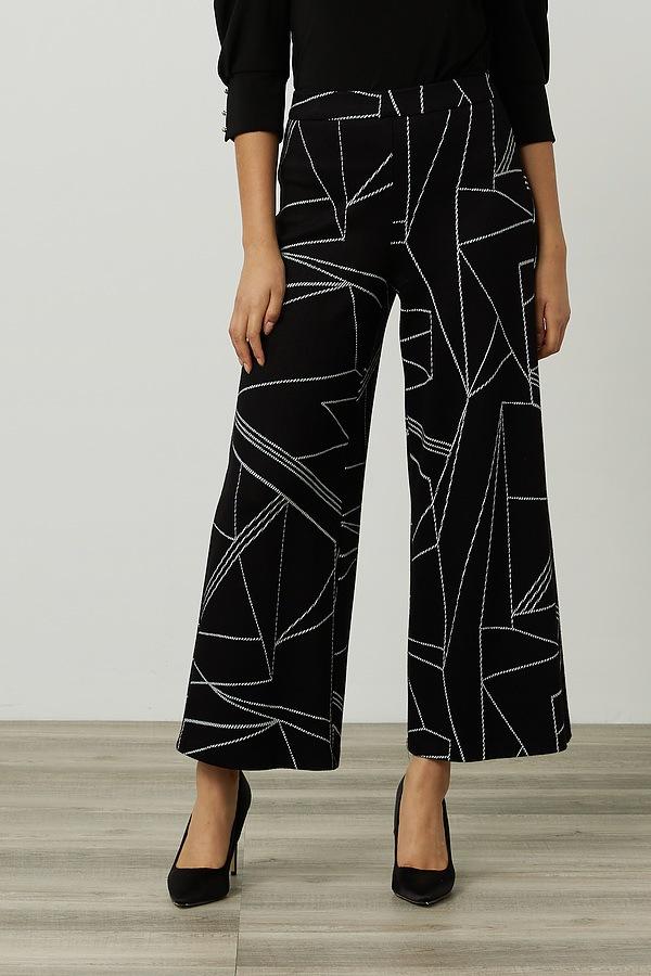 Joseph Ribkoff Geometric Wide Leg Pants Style 214251. Black/Vanilla