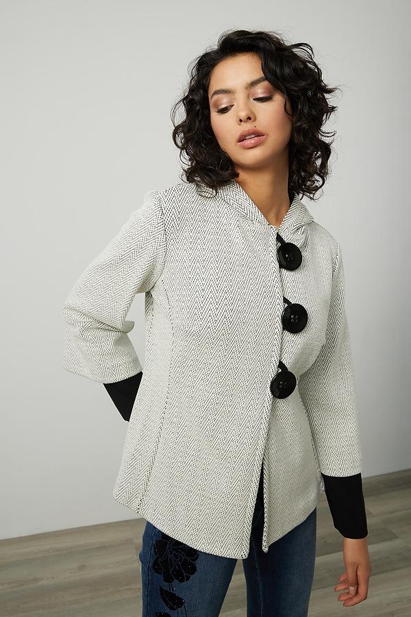 Joseph Ribkoff Knit Button-Up Blazer Style 214252. Cream/Black
