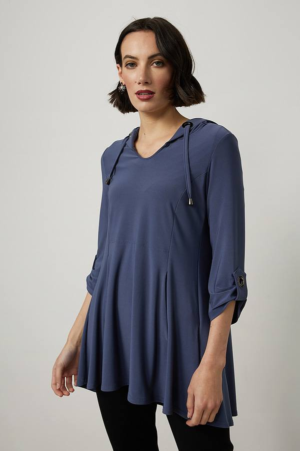 Joseph Ribkoff Eyelet Detail Hooded Top Style 214262. Mineral blue