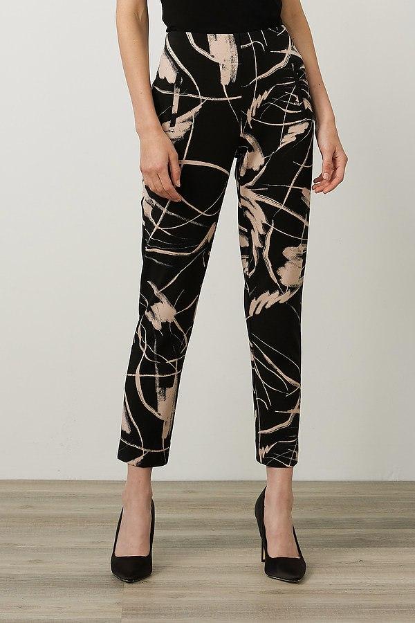 Joseph Ribkoff Cropped Printed Pants Style 214278. Black/Sand